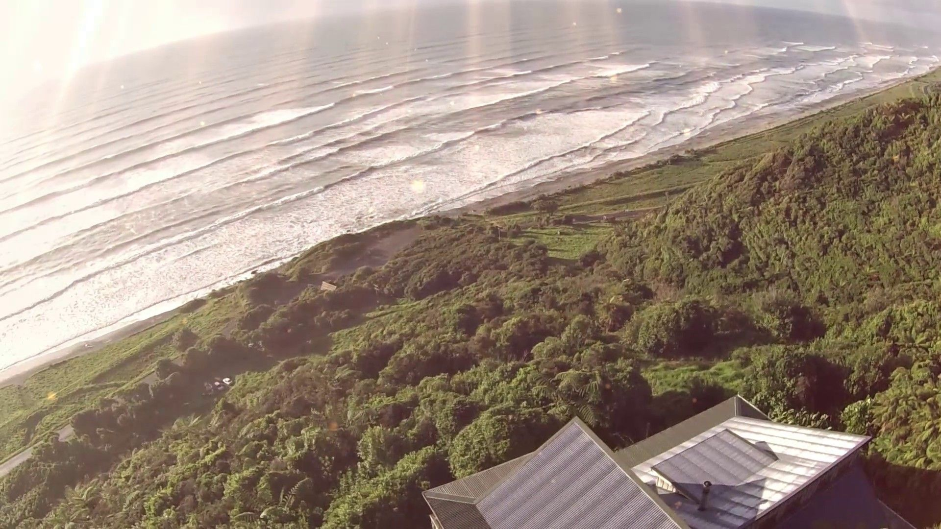 Aerial view of the Old Slaughterhouse & the Tasman Sea